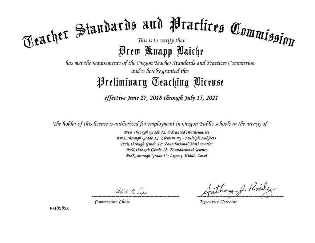 License Portland Math Tutor Mr Laiche Licensed Teacher